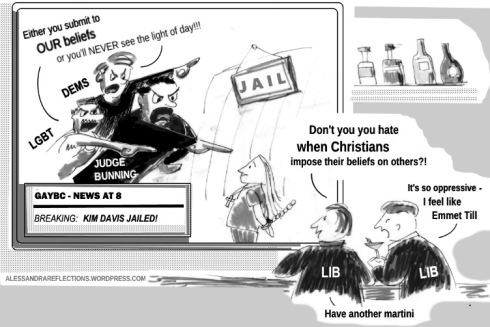 Kim Davis cartoon - Imposition of Beliefs - Sept 2015