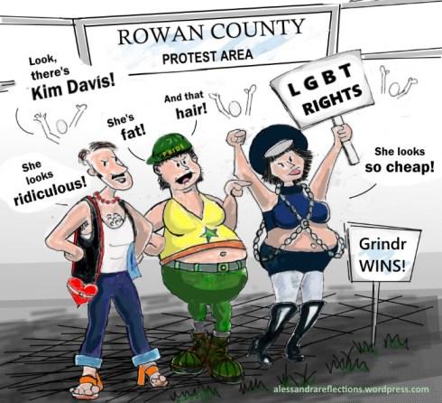 LGBT protesters react to Kim Davis - Sept 2015